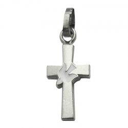 Pendentif Croix Colombe relief (argent)
